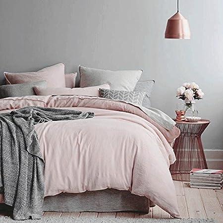 Westhome 100 Cotton Duvet Cover Pillow Cases 3pcs Pale Pink