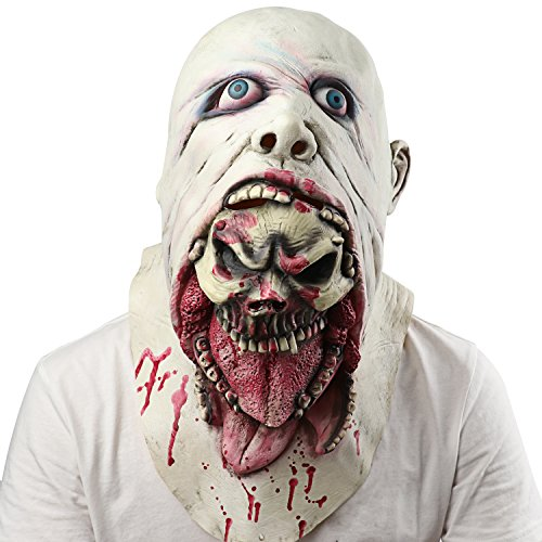 Supmaker Halloween Horror Masks Scary Latex Zombie Mask Melting Face Neck Devil Party Costumes, Adult Latex Costume
