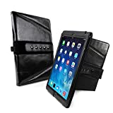 Tuff-Luv Tri-Axis Vintage Genuine Leather Case Cover for Apple iPad Air 2 (Sleep Function & NFC Tag) - Black