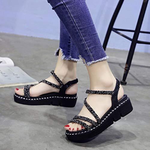 Shoes Wedge Plates Haut Manadlian Noir Chaussures De Compensé Chaussons Casual Lanières Women Talon Sandales 2019 Femmes Filles Eté Beach À axt0cYd