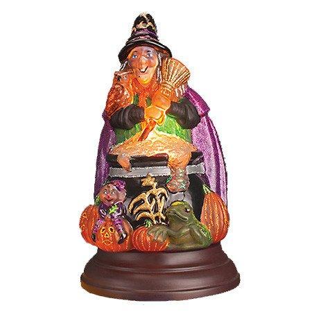 Old World Christmas Witch with Cauldron Glass Halloween Night Light Figurine