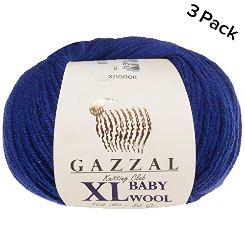 - 3 Pack (Ball) Gazzal Baby Wool XL Total 5.28 Oz / 328 Yrds, Each Ball 1.76 Oz (50g) / 109 Yrds (100m) Super Soft, Medium-Worsted Yarn, 40% Lana Merino 20% Cashmere Type Polyamide, Blue-802