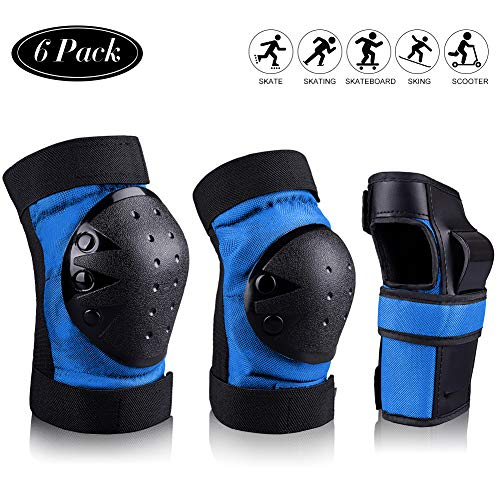 STARPOW Knee Pads for Kids/Adult Elbows Pads Wrist Guards 3 in 1 Protective Gear Set Set for Skateboarding, Roller Skating, Rollerblading, Snowboarding, Cycling(Blue-S)