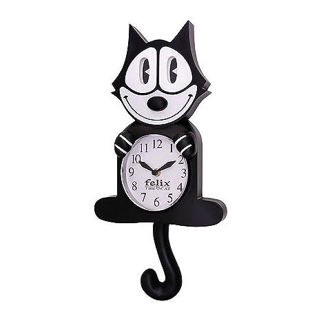 Amazon.com: Felix el Gato clásico negro 3d reloj de pared de ...