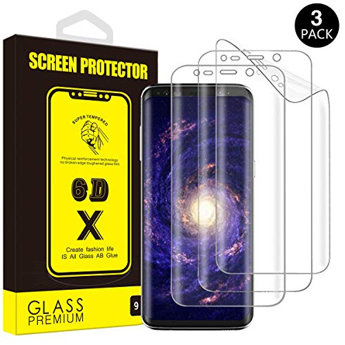 Yoyamo Galaxy S8 Screen Protector Full Screen Coverage PET [NOT Glass] [Bubble Free] HD Screen Protector Film for Samsung Galaxy S8 [3-Pack] [Case Friendly]