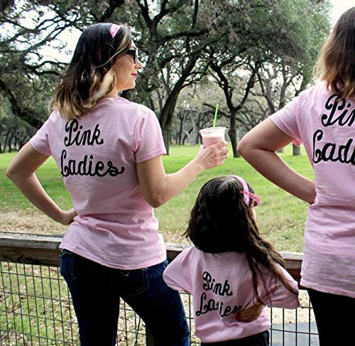(PINK LADIES Shirt greaser womens t-shirt punk party sock hop group family cruise vacation matching mommy and me music dance rock star)