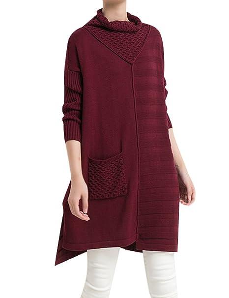 Youlee Damen Winter Rollkragen Side Slit Pullover Kleid