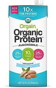Orgain Organic Protein Almond Milk, Lightly Sweetened Vanilla, 32 Ounce, 6 Pack, Vegan, Non-GMO, Gluten Free