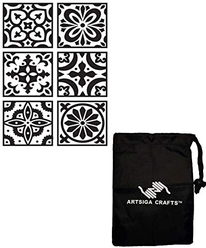 (Darice DIY Crafts Supplies Embossing Folders for Card Making Si x Square Patterns 4.25 x 5.75 inches 30041342 Bundle with 1 Artsiga Crafts Small Bag)