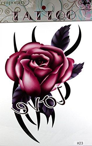 "GRASHINE Extra large tattoo 11.81"" x 8.66"" Inches Waterproof LOVE Rose new big design temporary tattoo stickers"