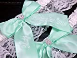 Mint Green Bridal Garter, Custom Wedding Garter Set, Personalized Garters
