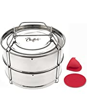 CHEFTOS Stackable Stainless Steel Pressure Cooker Insert Pans compatible with Instant Pot or Ninja Foodi Pressure Cooker Accessories - Cook Tasty Pasta, Vegetables, Meat, Fish, Rice and More - Fits 6 & 8 QT IP Pressure Cooker - 2 Tier Steaming Basket - Vent Holes to Equalize Steam
