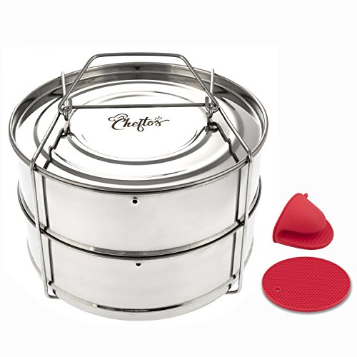 CHEFTOS Stackable Stainless Steel Pressure Cooker Insert Pans compatible  with Instant Pot- Pressure Cooker Accessories - Cook Tasty Pasta,  Vegetables,