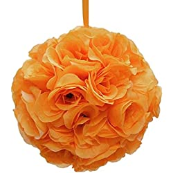 Firefly Imports Homeford Flower Kissing Balls Pomander Pom Pom Wedding Centerpiece, Orange