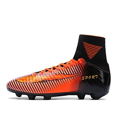 ASHION Niños Botas de fútbol para niños profesionales Zapatos de fútbol al aire libre Zapatillas de deporte Niños Muchachas Zapatillas de fútbol Naranja