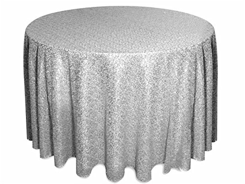 """51tU9 liFgL - 156"""" Round Sparkly silver Sequin Table Cloth Sequin Table Cloth,Cake Sequin Tablecloths, Sequin Linens for Wedding"""