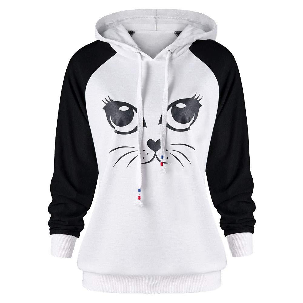 Ulanda Women's Cat Printed Long Sleeve Hoodie Sweatshirt Jumper Hooded Pullover Tops