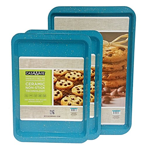 casaWare 3pc Multi-Size Cookie Sheet / Jelly Roll Pan Set (Blue Granite)
