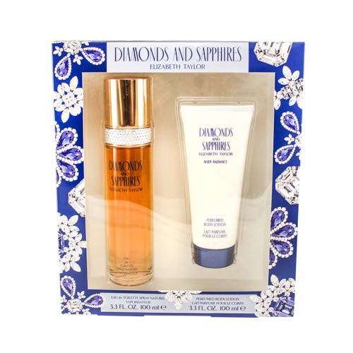 Diamonds & Sapphires For Women by Elizabeth Taylor 2 Pc. Gift Set (Eau De Toilette Spray 3.3 oz + Body Lotion 3.3 oz) Sapphires Gift Set