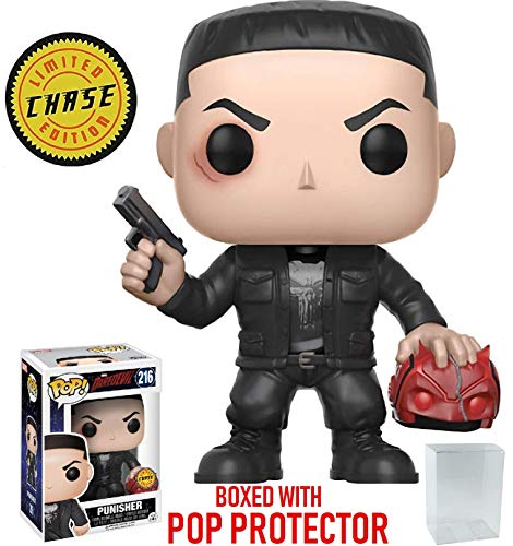 Funko Pop! Marvel: Netflix Daredevil - Punisher CHASE Variant Limited Edition Vinyl Figure (Bundled Pop Box Protector Case)