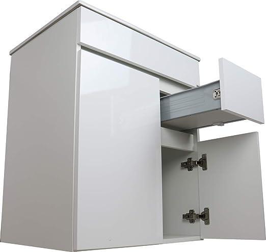 Crocket Mueble de Baño Clif + Lavabo Cerámico + Espejo - Cajones amortiguados - Mueble Lacado - Viene Montado - Blanco - 60x60x45: Amazon.es: Hogar