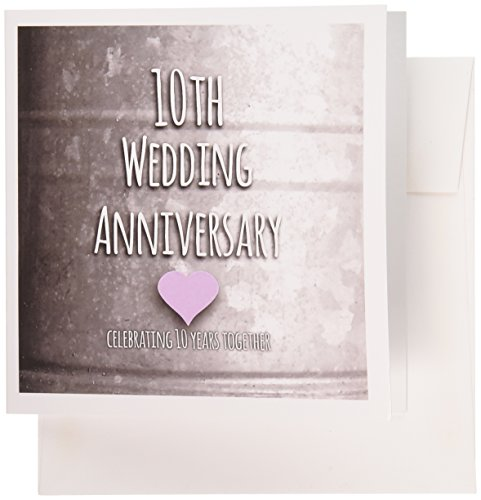 3dRose 10th Wedding Anniversary gift - Tin celebrating 10 years together - tenth anniversaries- Greeting Cards, 6 x 6 inches, set of 6 (gc_154441_1)