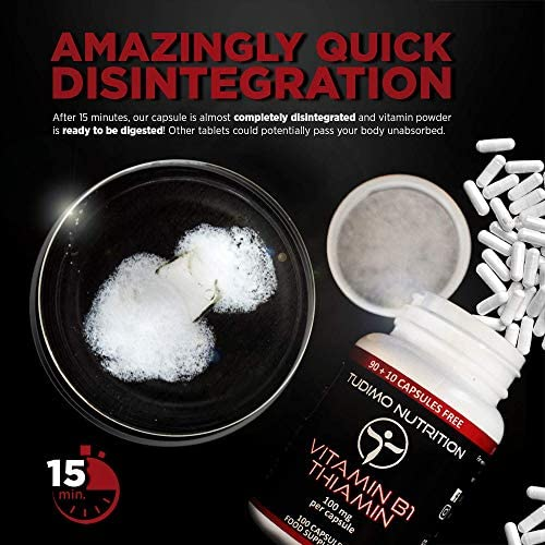Vitamina B1 100 mg Thiamin Cápsulas – 100 pzas (3+ Meses de provisión) de Cápsulas de Desintegración Rápida, cada una con 100mg de polvo de Thiamine Mononitrate de Calidad Premium, de TUDIMO: