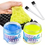 BESTZY Keyboard Cleaner Universal Cleaning Gel - 2 Cans and 2 Brushes Super Clean Quickly Remove Stains for PC Tablet Laptop Keyboards Car Vents Cameras Printers Calculators, 160g*2