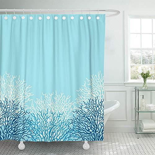 Emvency Shower Curtain Waterproof Adjustable Polyester Fabric Blue Ocean Sea Life with Corals Border Caribbean Reef Sealife Deep Beach 72 x 72 Inches Set with Hooks for Bathroom ()