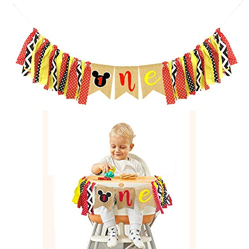 Mickey Mouse Kids First Birthday Highchair Banner Mickey Mouse 1st Birthday Decorations Kit Mickey Party Decorations Supplies]()