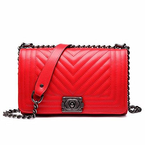2018 Summer Europa y America nuevo Messenger Bag, Fashion Chain Bag, Ladies Casual Bolsa de hombro,Rojo grande Rojo Grande