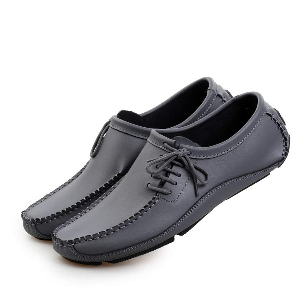 Qiusa Klassische Schnürschuhe für Männer Breathable Runde beiläufige Rutschfeste weiche Sohle Runde Breathable Zehe Schuhe (Farbe : Grau, Größe : EU 44) Grau d00f34