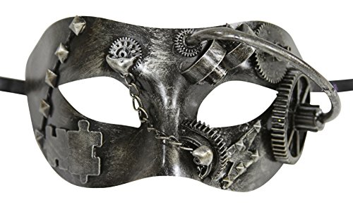 Terminator Costume Mask (Silver Terminator Venetian Masquerade Mask with Gears and Chains)