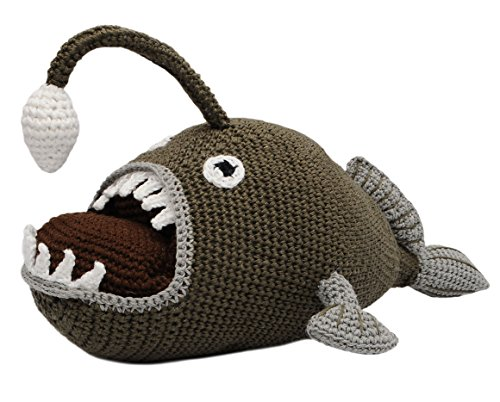 (Beige-Green Angler Fish Handmade Amigurumi Stuffed Toy Knit Crochet Doll VAC)