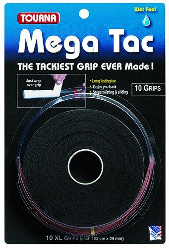 Tourna Mega Tac Tennis Racket Grip, Black, 10-Pack