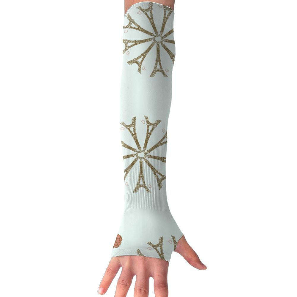 Mossey Raymond Unisex Outside Athletic Hand Cover Cooling UV Protection Arm Sleeves - 1 Pair, Eiffel Flower, Teal