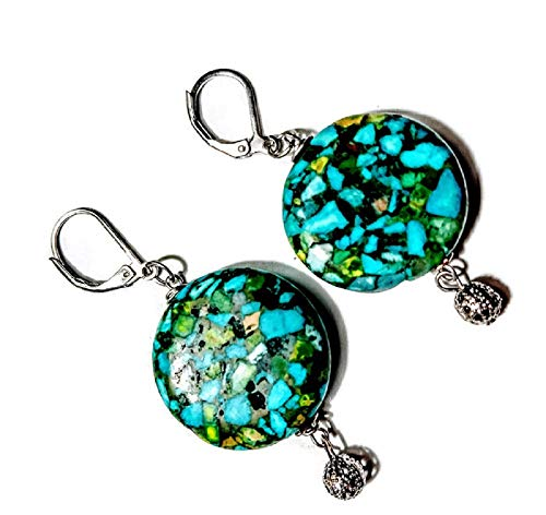 (Blue and Green Turquoise Earrings with Cloisonne Drop Bead Accent)
