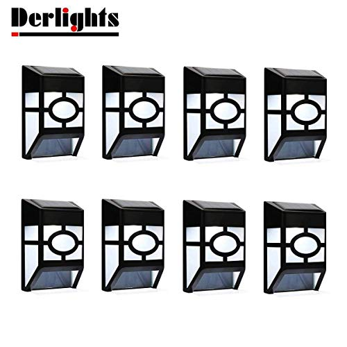 Derlights Solar Powered Wall Lights Outdoor Solar Deck Lights Waterproof for Fence Post Garden Yard Lawn Roof Landscape Lighting Decoration (8pcs)