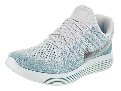 Image of the NIKE Womens Lunarepic Low Flyknit 2 Running Shoe (8, Glacier Blue/Metallic Silver)
