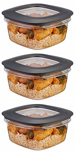 Rubbermaid Premier Food Storage Container, 5 Cup, Grey (3 Pack) (Rubbermaid 30 Pc Premier Food Storage Set)