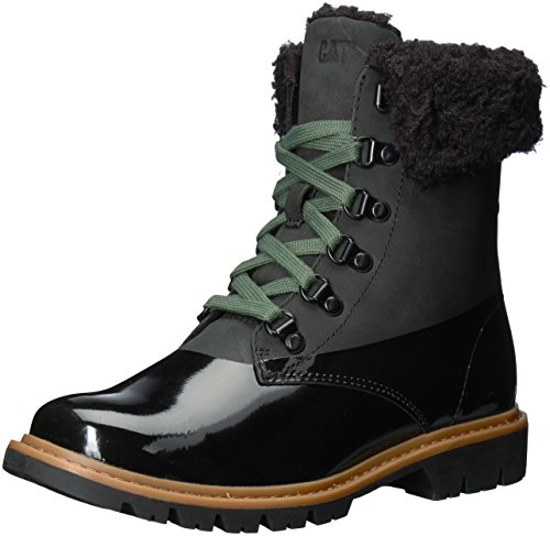 Caterpillar Women's Hub Hiker lace up Leather Boot with Faux Fur Lining Mid Calf, Black, 8 Medium US
