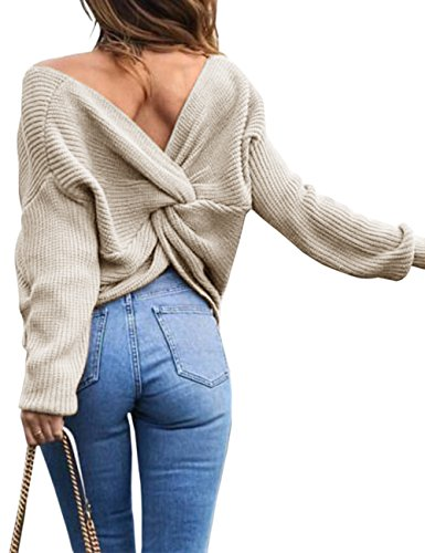 Sexyshine Women's Casual V Neck Criss Cross Backless Long Batwing Sleeve Loose Knitted Sweater Pullovers, Apricot