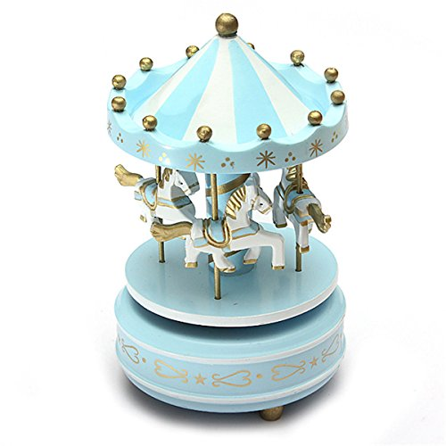 "New ""Light Blue 1Pc "" Wooden + Plastic Merry-Go-Round Carousel Music Box Christmas Birthday Gift Toy Set40"