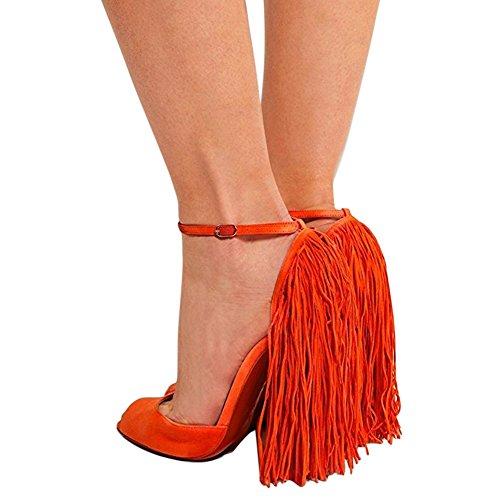 Damen Peep Toe High Heels Stiletto Fransen Sandalen Knöchelriemchen Schnalle Orange