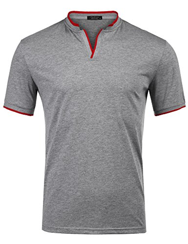 Zuckerfan Men's Polo Casual Slim Fit Short Sleeve Polo Shirts(Grey,L) by Zuckerfan
