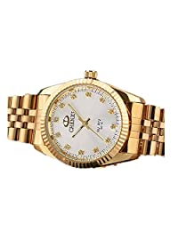 Business non-mechanical couple watch classic electroplating all-gold watch-Men White