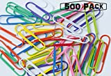 Jumbo Colorful Paper Clips - Assorted Colors and Durable Steel Vinyl Coated Wire Clips – 500 Pack 2 Inch Clips - School Supplies, Office Use - By Kidsco