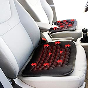 Zone Tech Heated Car Seat Cushion -2-Pack Black 12V Heating Warmer Pad Hot Cover Perfect for Cold Weather and Winter Driving