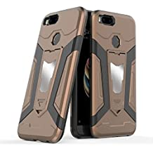 Xiaomi Mi 5X Case, Ranyi [3 Piece Full Body Armor] [Built-in Kickstand] [Shock Absorbing] Metal Texture Rugged Rubber 360 Protective 3 in 1 Case for Xiaomi Mi 5X / Mi A1 (brown)