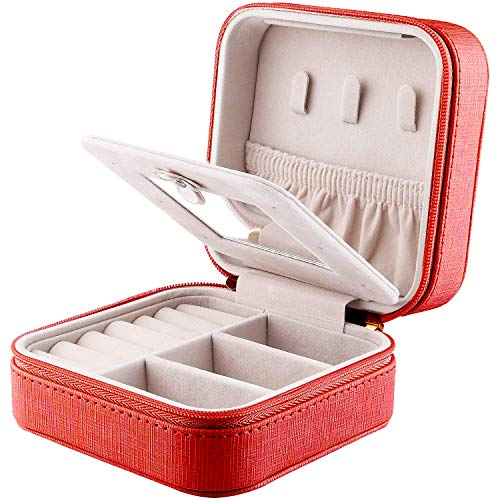 YAPISHI Travel Jewelry Case for Girls, Small Jewelry Organizer with Makeup Mirror, Portable Jewelry Storage Box for Earrings Necklace Rings Bracelet Watch Cosmetic, Leatherette Jewellery Bag (Red)